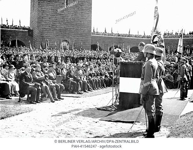 The image from the Nazi Propaganda! shows Reich Chancellor Adolf HItler during the commemoration at Tannenberg Memorial on 27 August 1933