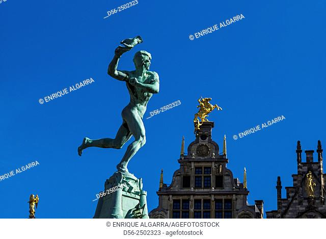 The Brabo Fontein (Fountain) at Grote Mark, Antwerp, Belgium