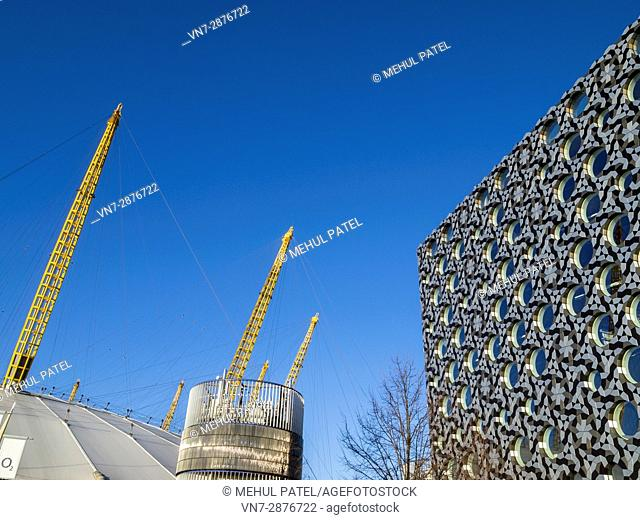 Detail on the uniquely designed building of Ravensbourne College of Design and Communication next to the O2 arena in London
