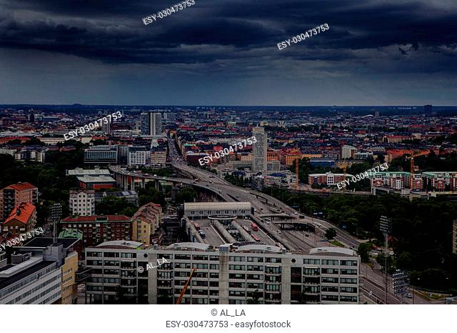 Aerial view of Stockholm captured from Ericsson Globe, the national indoor arena of Sweden