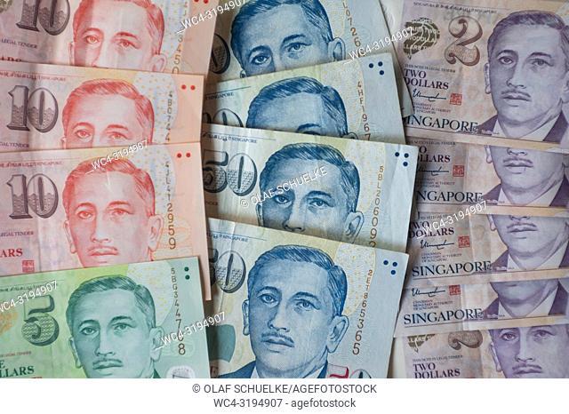 Singapore, Republic of Singapore, Asia - Denomination of various Singapore Dollar banknotes