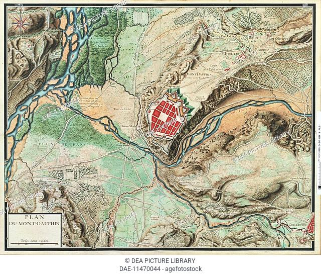 Cartography france 18th century map of mont dauphin from cartes cartography france 18th century map of mont dauphin a fortress built by vauban in about 1700 watercoloring drawing 46 x 62 cm paris biblioth gumiabroncs Image collections