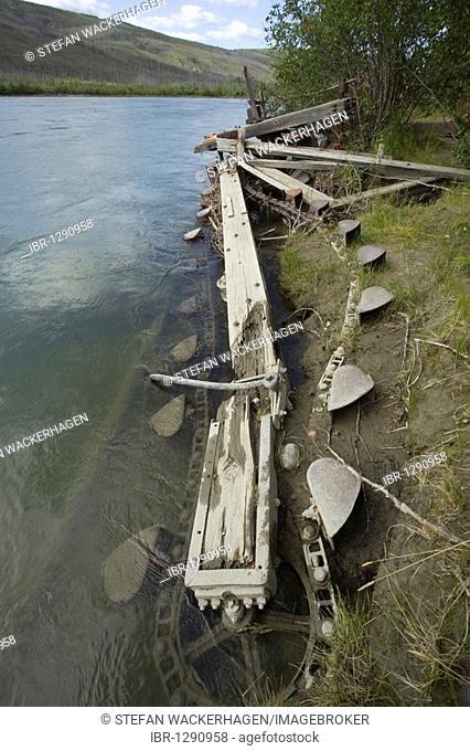 Artifact, remains of CYR'S GOLD DREDGE, buckets, Klondike Gold rush, Yukon River, Yukon Territory, Canada