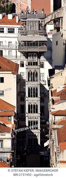 Elevador de Santa Justa, Santa Justa Elevator, connecting the two historic districts of Baixa and Chiado, Lisbon, Portugal, Europe