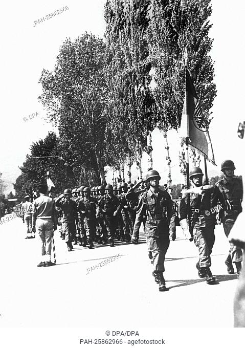 German NATO soldiers participate in a parade through Xanthi, Greece, on the 16th of September in 1966. The soldiers are in the North of Greece during the NATO...