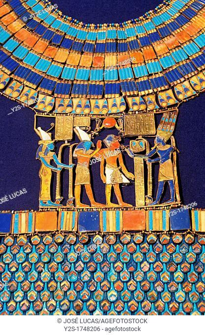 Pectoral, The god Amun-Re receives the pharaoh, Tutankhamun treasure, Museum of Egyptian Antiquities, Cairo, Egypt