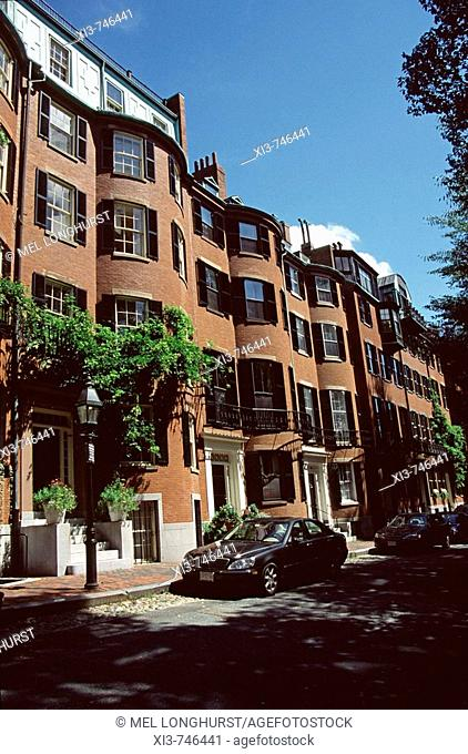 Red brick buildings, Beacon Hill area, Boston, Massachusetts, New England, USA