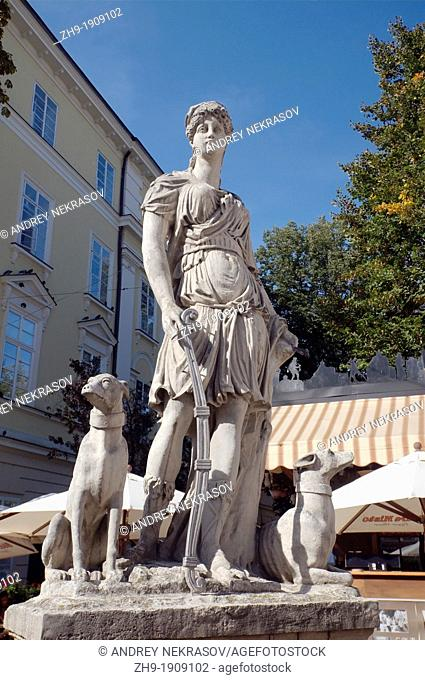 monument goddess Artemis, Lviv, Ukraine, Eastern Europe