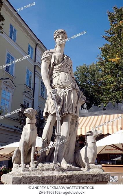 monument goddess Artemis, Lviv, Ukraine, Eastern Europe