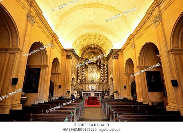 Spain, Balearic Islands, Mallorca, Felanitx, Santuari monastery of Sant Salvador, central nave of the church