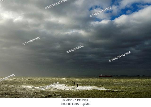 Storm over Western Scheldt river, Rilland, Zeeland, Netherlands