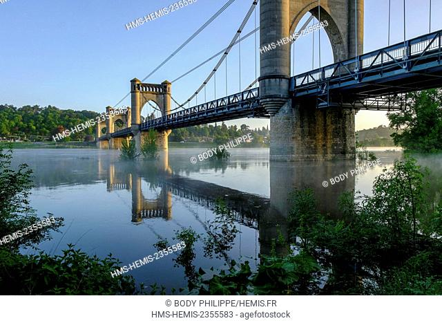 France, Indre et Loire, Loire Valley listed as World Heritage by UNESCO, the suspension Bridge of Langeais over the Loire river