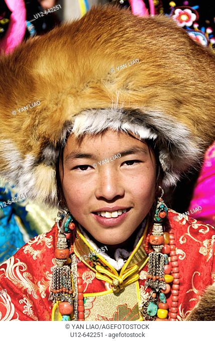 Tibetan girl. Festival. Danba. Sichuan. China