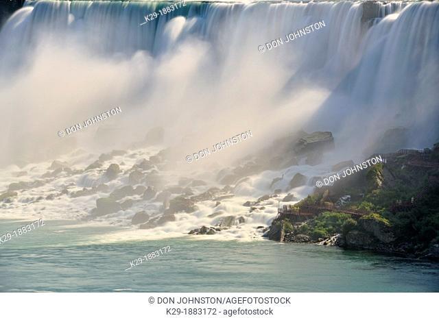 Niagara Falls mist and rocks below the Canadian Falls, Niagara Falls, Ontario, Canada
