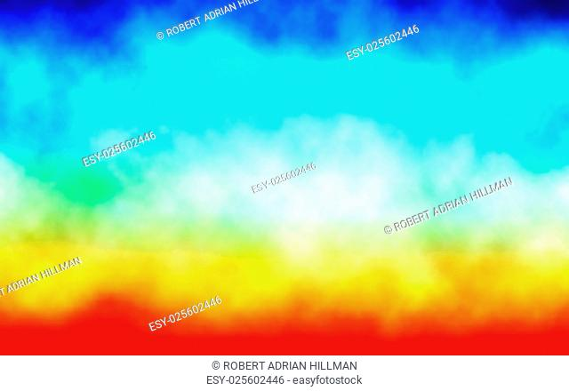 Editable vector illustration of clouds or mist over a colorful background, made with a gradient mesh