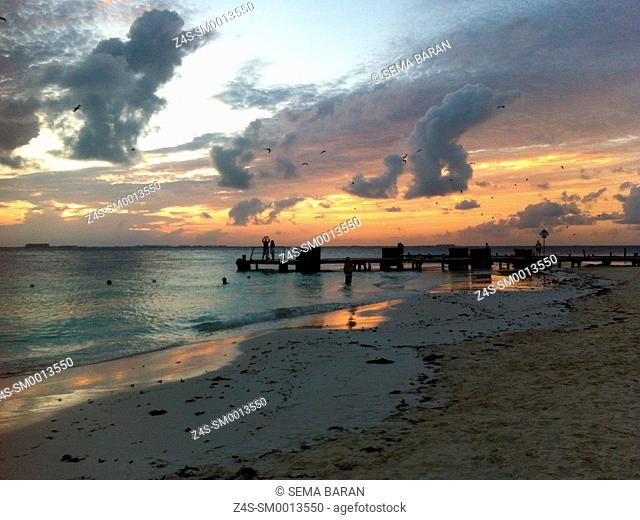Sunset at the beach, Isla Mujeres, Cancun, Quintana Roo, Yucatan Province, Mexico, Central America