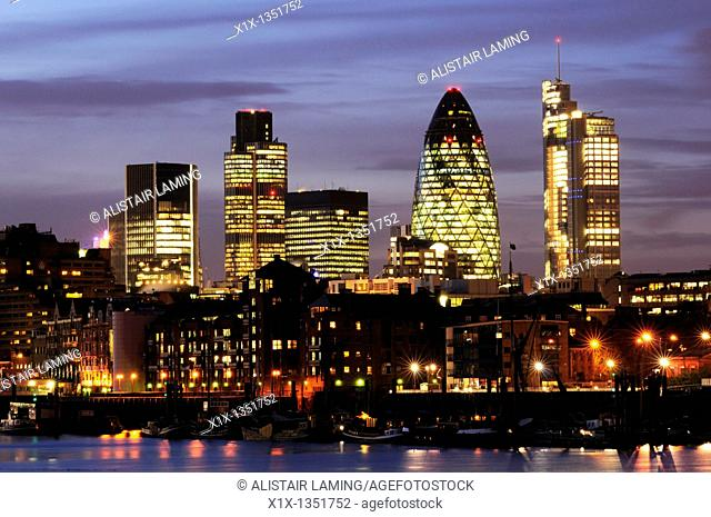 City of London Skyline at Night viewed from Bermondsey, London, England, Uk