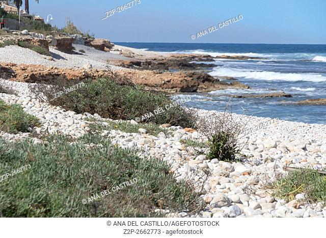 Coastline of Mediterranean Las Rotas nature reserve in Denia ALicante Spain