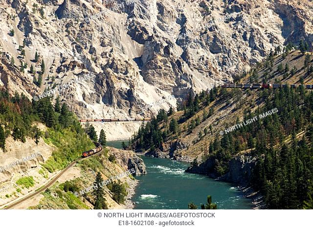 Canada, BC, Lytton  Freight trains in the Thompson River Canyon