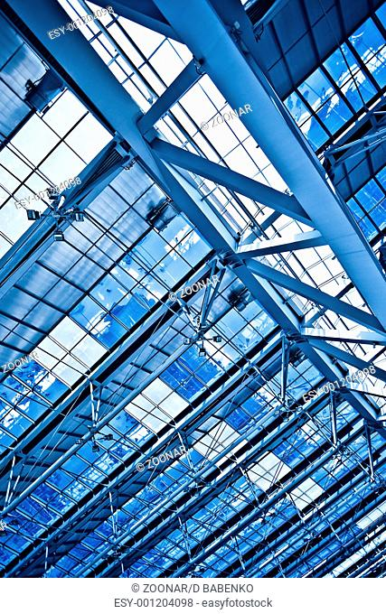 Abstract blue ceiling diagonal construction