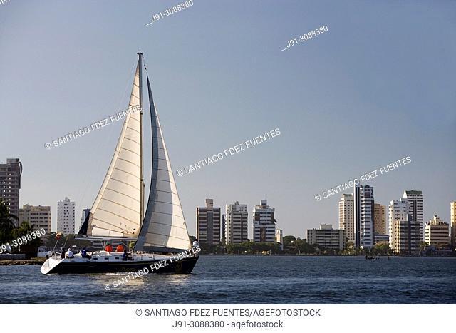 Sailboat. Caribbean Sea. Cartagena de Indias. Departamento de Bolivar. Caribbean Sea. Colombia