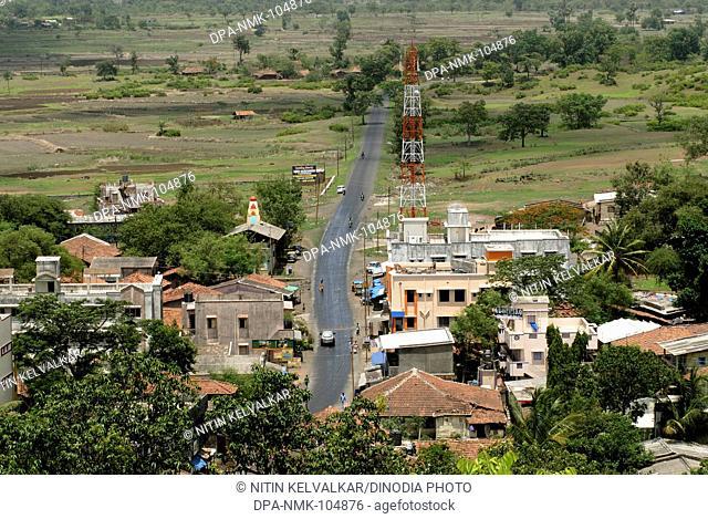 Aerial view of Village Vajreshwari and road ; District Thane ; Maharashtra ; India Asia