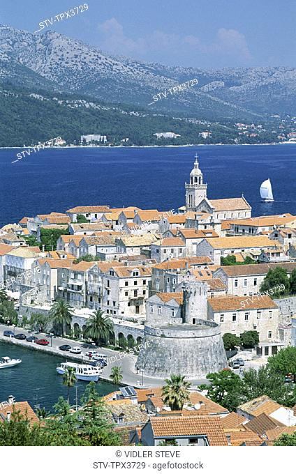 Adriactic, Coastline, Croatia, Europe, Heritage, Holiday, Island, Islands, Korcula, Landmark, Skyline, Tourism, Town, Travel, Un