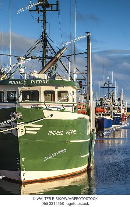 Canada, New Brunswick, Northeastern New Bruswick, Caraquet, boats in the fishing port, dawn