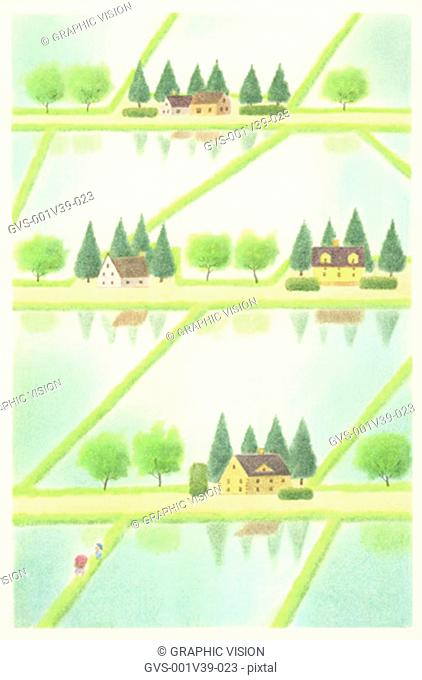 Illustration of Paddy Fields and Houses in Spring