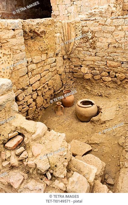 Turkey, Ephesus, Pottery outside private houses