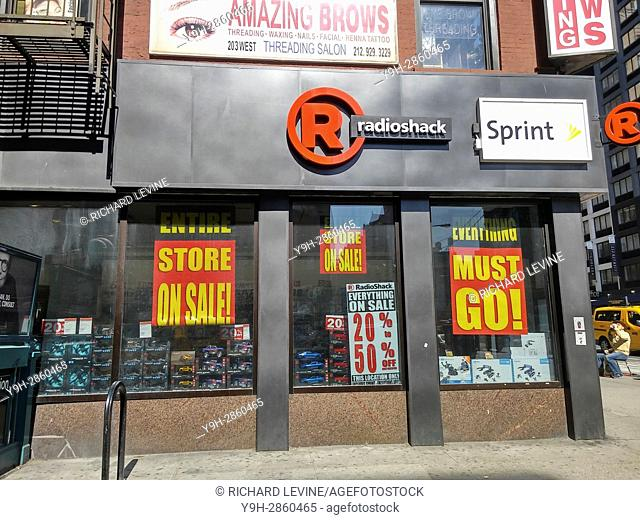 Everything is on sale at a RadioShack store in New York. RadioShack has once again filed for Chapter 11 bankruptcy protection for the second time in two years