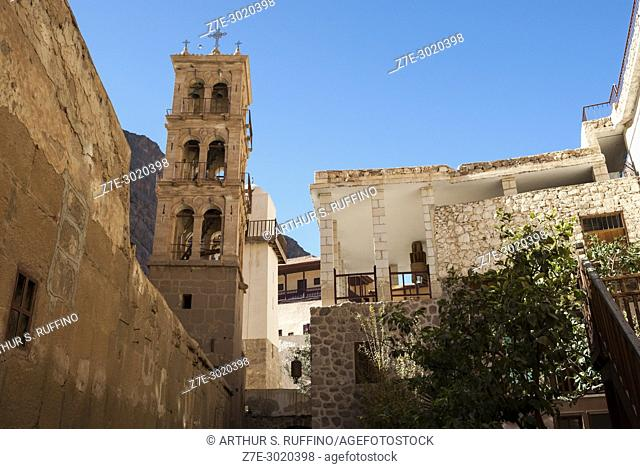 Bell Tower, Saint Catherine's Monastery, one of the oldest Christian monasteries in continuous use, built by Emperor Justinian I in the 6th century at the...