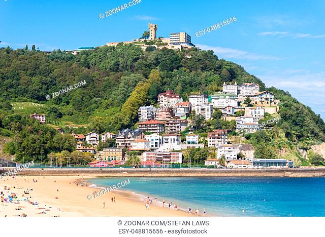 View to Igeldo, a quarter of San Sebastian. It is a small town located at the hillside of the same name towering over the west side of the Bay of La Concha one...