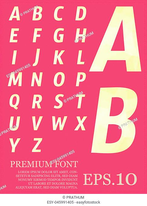Font vector lowpoly design style illusstration eps.10