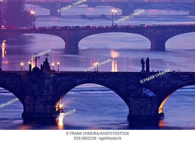 Czech Republic, Prague - bridges over vltava river at dusk
