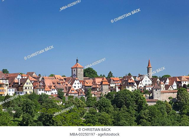 View at Rothenburg ob der Tauber, Central Franconia, Franconia, Bavaria, South Germany, Germany