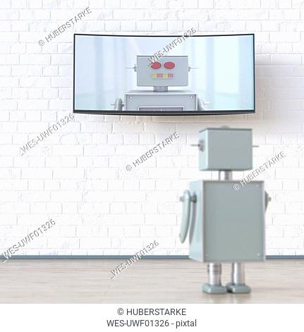 Robot looking at screen with robot, 3d rendering