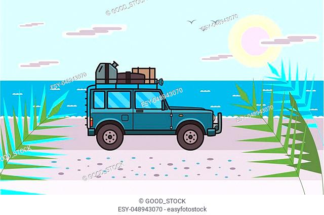 SUV car with luggage on the roof on the beach by the sea. Off-road vehicle on the sunlit seascape. Sea, beach and automobile. Flat vector illustration
