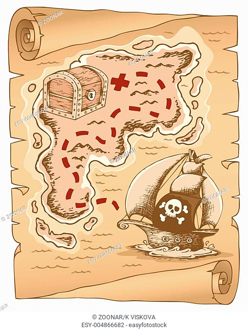 Parchment with treasure map 1 - picture illustration