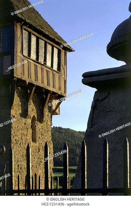 Detail of Stokesay Castle, Shropshire, 1997. Here is a detail of the half-timbered cap of the north tower, viewed from the neighbouring churchyard