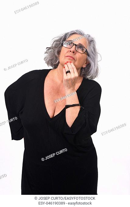 woman having a doubt or question on white background