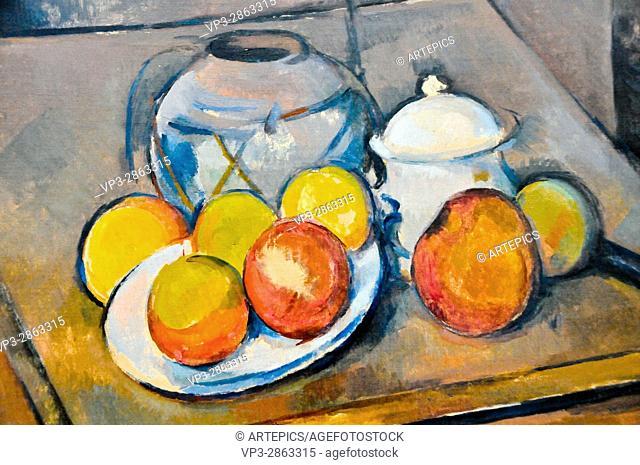 Paul Cezanne . Vase paille, sucrier, et pommes. 1893 . Musée de l'Orangerie - Paris