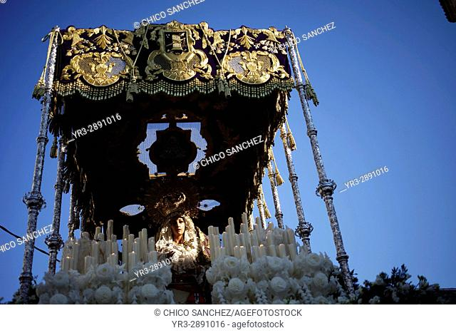 An image of Nuestra Señora de las Lágrimas (Our Lady of Tears) is displayed under a pallium during Easter Week celebrations in Baeza, Jaen Province, Andalusia