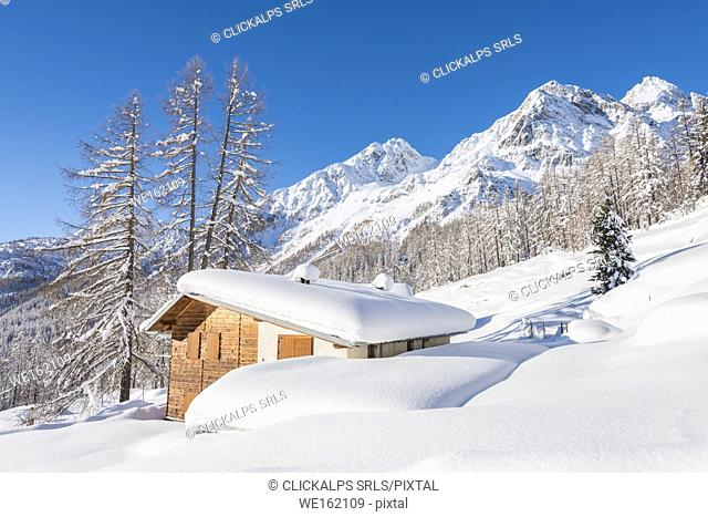 Lonely cottage, Val d'Ayas, Aosta Valley, Italian alps, Italy