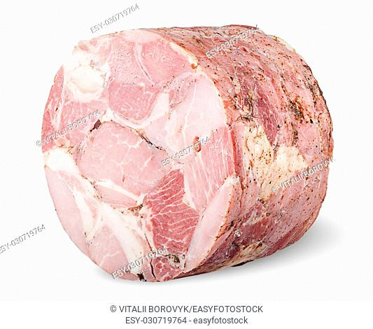 Piece of ham rotated isolated on white background