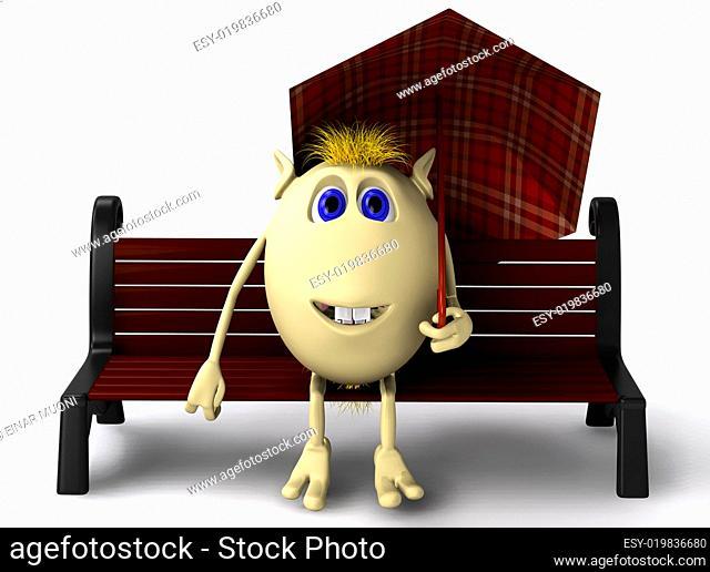 Puppet sitting under umbrella on brown bench