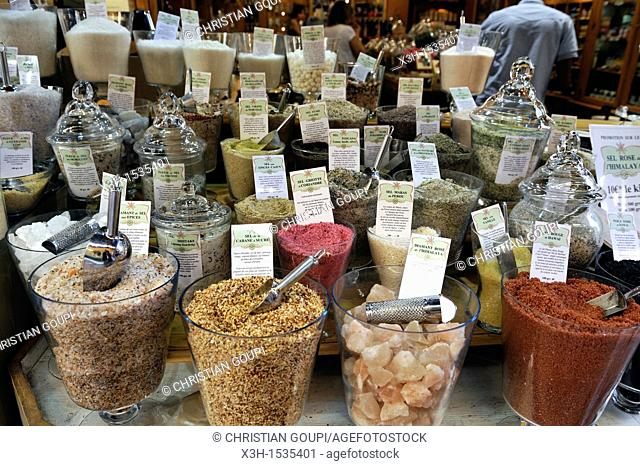 various kind of salt display, Girofle & Cannelle shop, Nice, Alpes-Maritimes department, Provence-Alpes-Cote d'Azur region, southeast of France, Europe
