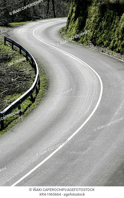Curves in the road, Aia, Gipuzkoa, Basque Country, Spain