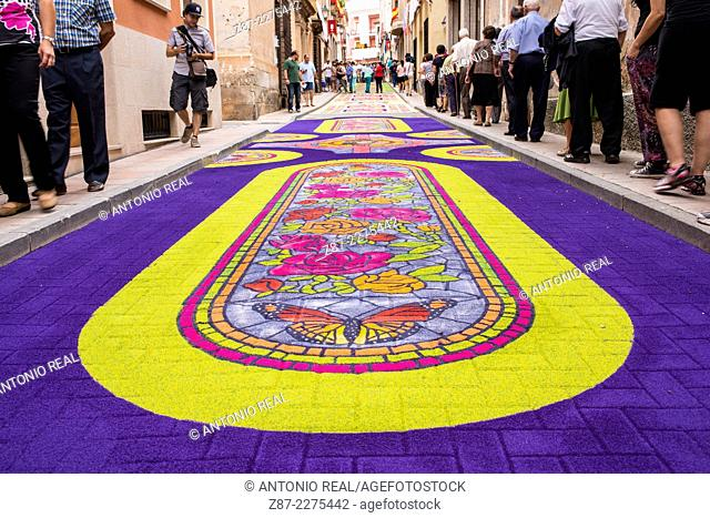 Alfombras de Serrín (sawdust carpets) 2014, Elche de la Sierra, Albacete province, Castilla-La Mancha, Spain