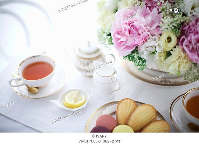 Flowers With Food And Tea